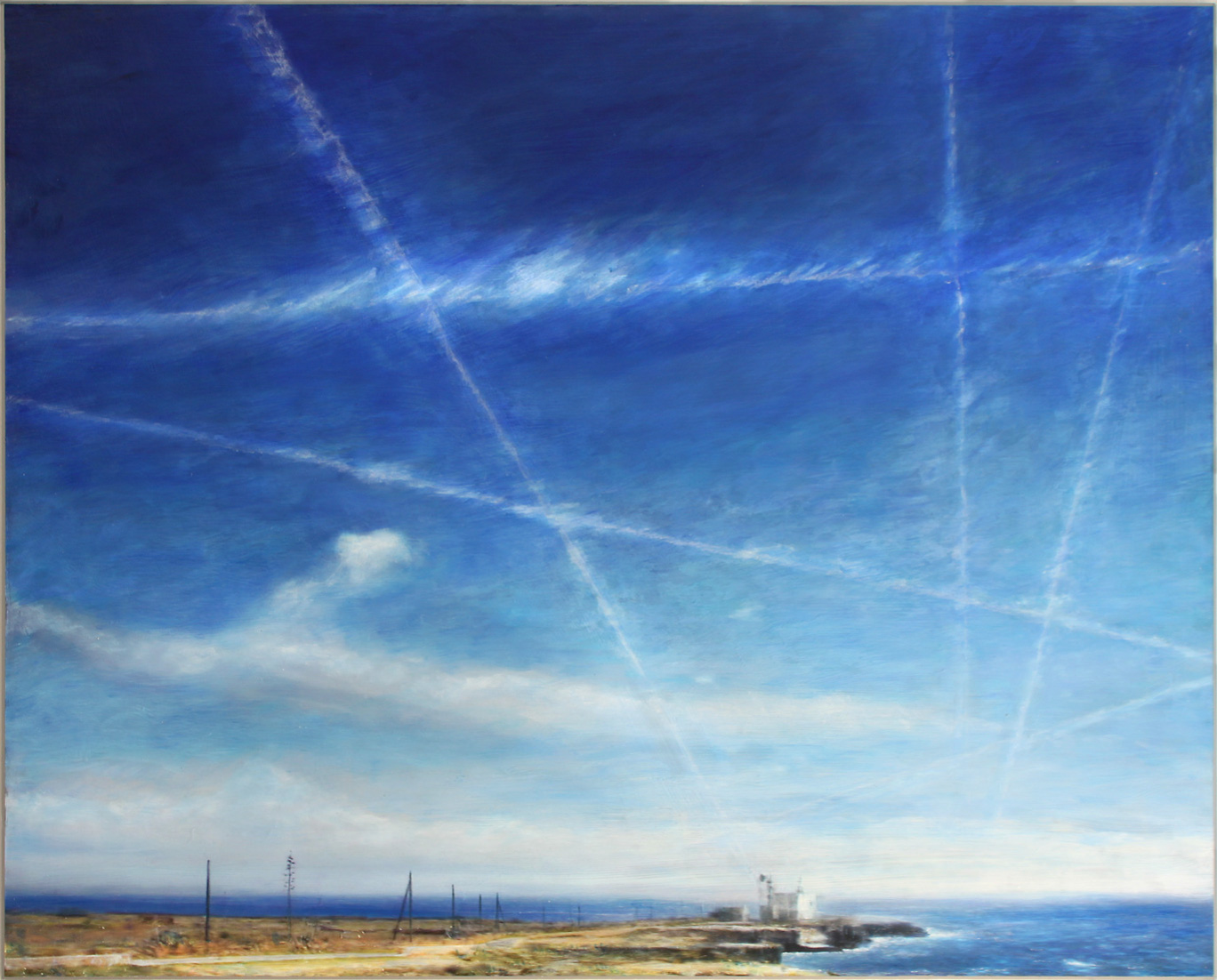 ARTIFICTION#1, Favignana Jet Trails, digitale & manuelle Malerei auf Alucore/digital and manual painting on Alucore, 80x99,7x2 cm, 2013-2014